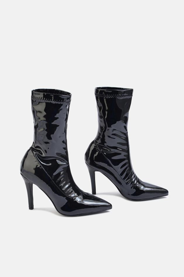 Matilda Patent Stiletto Heel Ankle Sock Boot Black