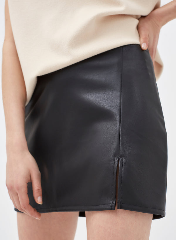 Meurice Split Mini Skirt Black Vegan Leather