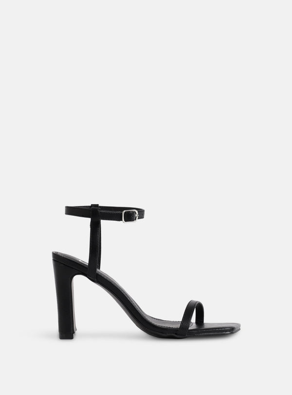 Megan Square Toe Block Heel Black