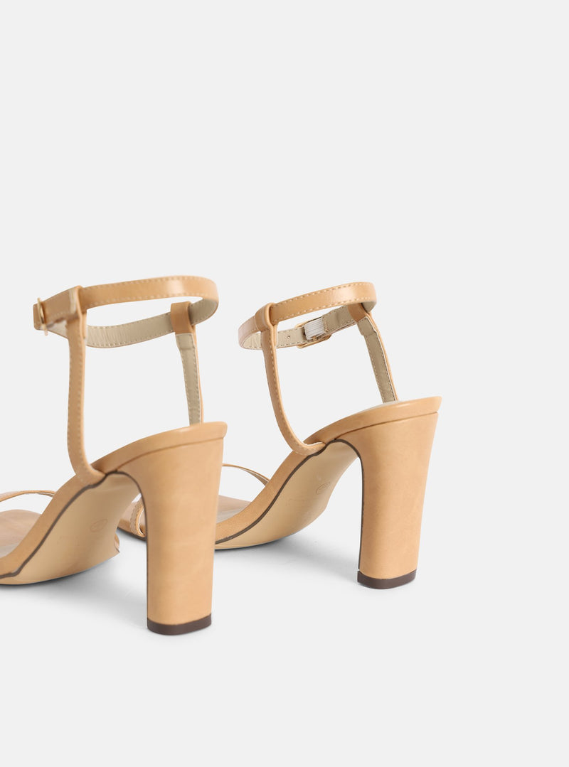 Megan Square Toe Block Heel Nude