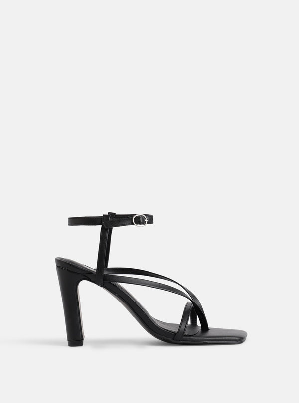 Murphy Square Toe Heeled Sandal Black
