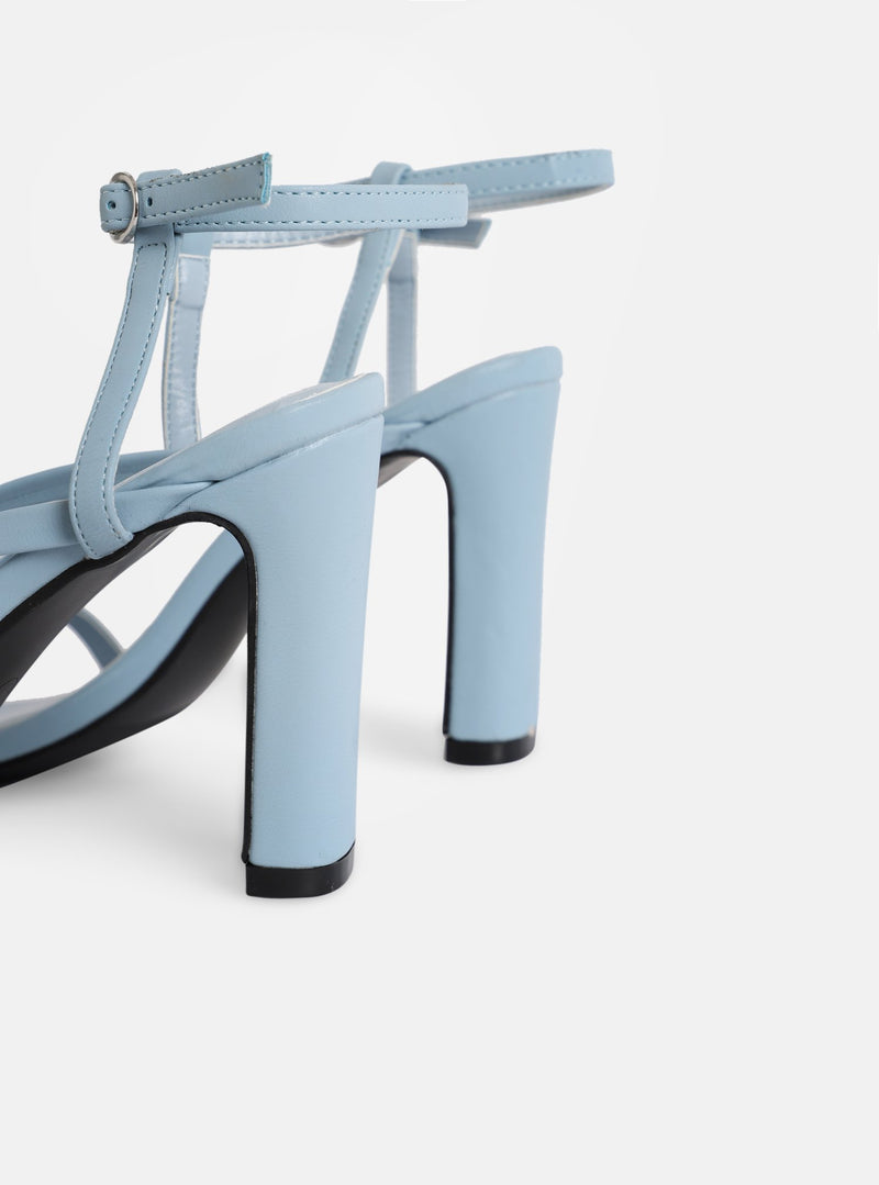 Murphy Square Toe Heeled Sandal Blue