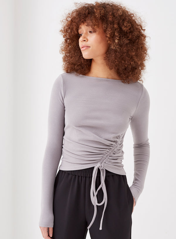 Nero Asymmetric Ruched Tie Top Grey