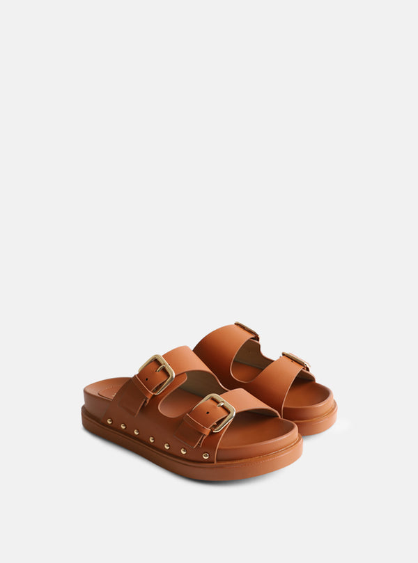 Palma Buckle Strap Slider Tan