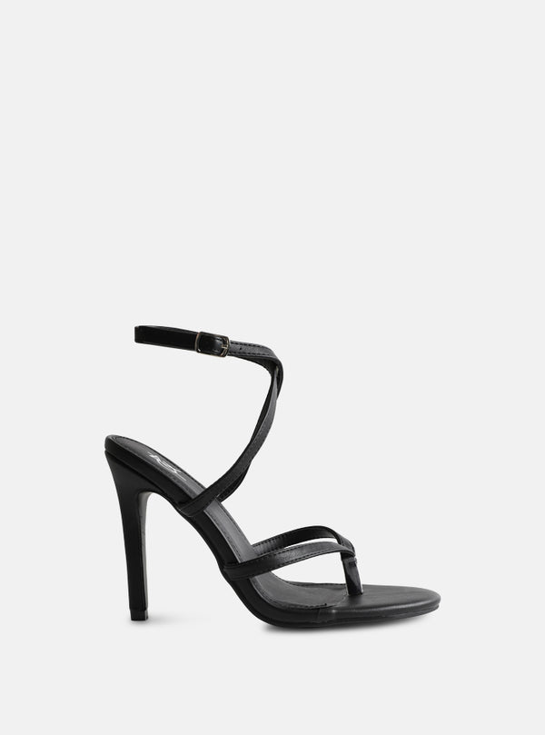 Penny Toe Strap Stiletto Heel Black