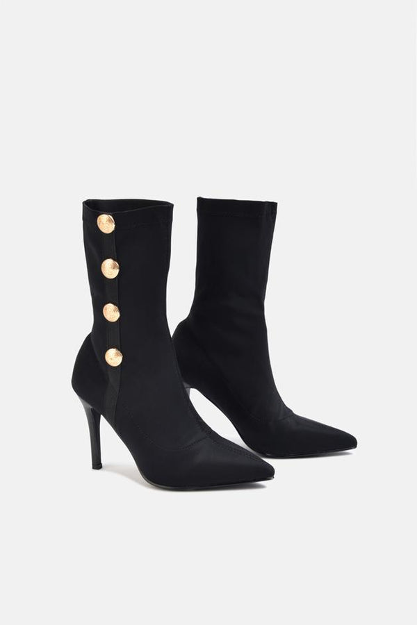 Pierce Gold Button Stiletto Heel Ankle Sock Boot Black