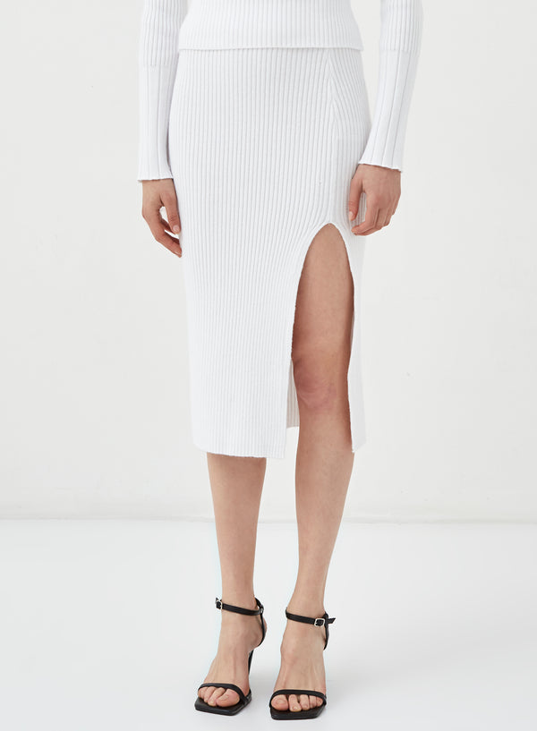 Pigalle Split Leg Knitted Skirt White