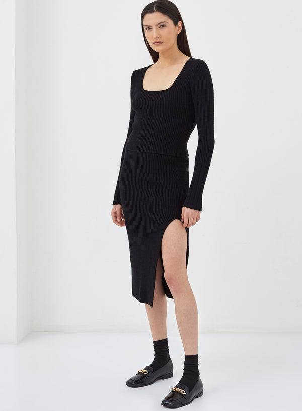 Pigalle Square Neck Knitted Top Black