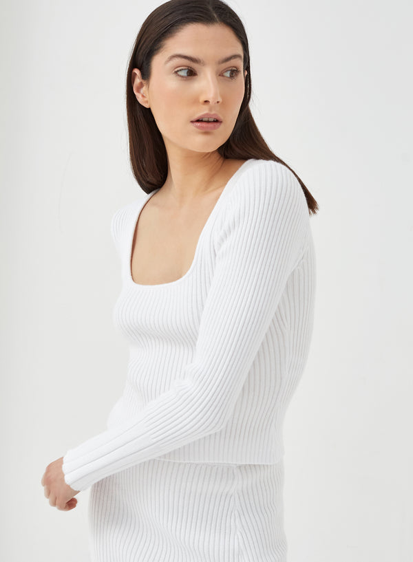 Pigalle Square Neck Knitted Top White