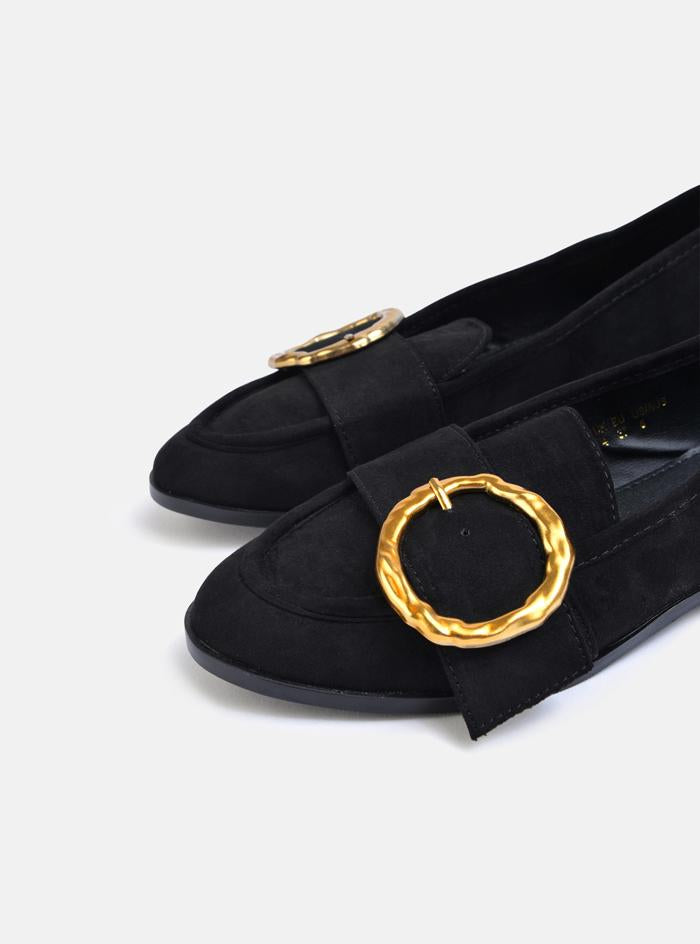 Raye Circle Buckle Loafer Black Suede
