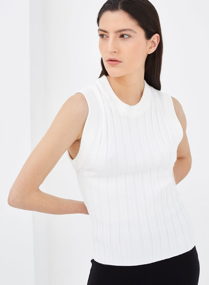 Rivoli Knitted Vest Top White