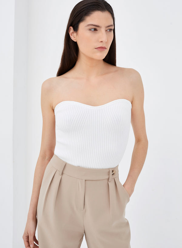 Royal Bandeau Knitted Top White
