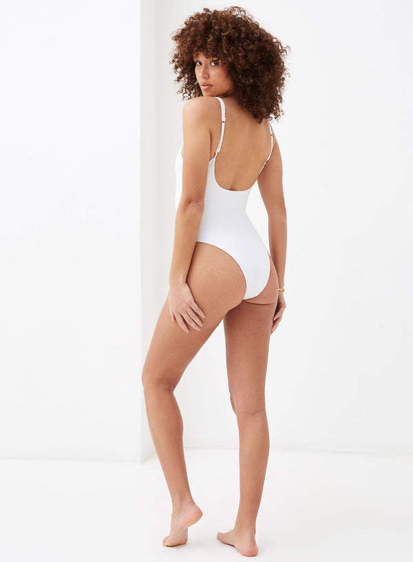 Ruby Button Front Swimsuit White