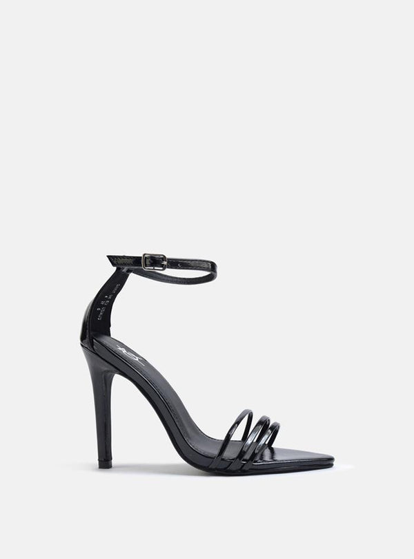Saiint Triple Strap Heeled Sandal Black