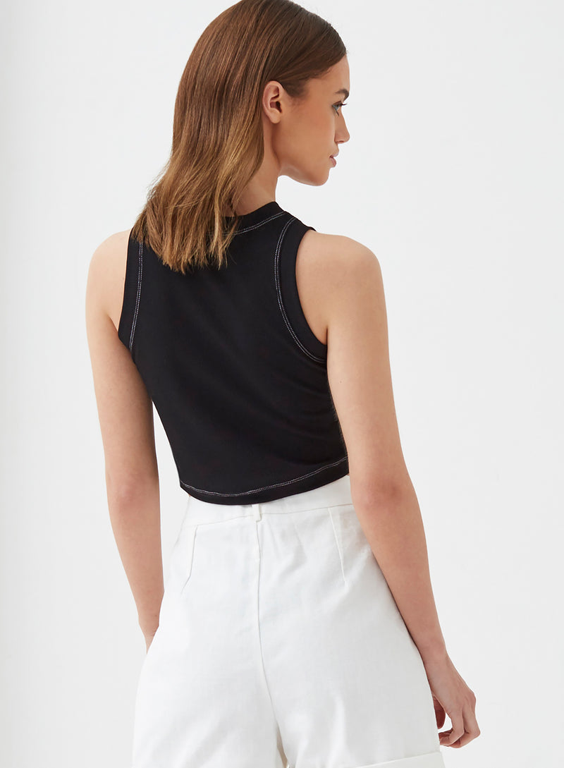 Sophie Contrast Stitch Crop Top Black