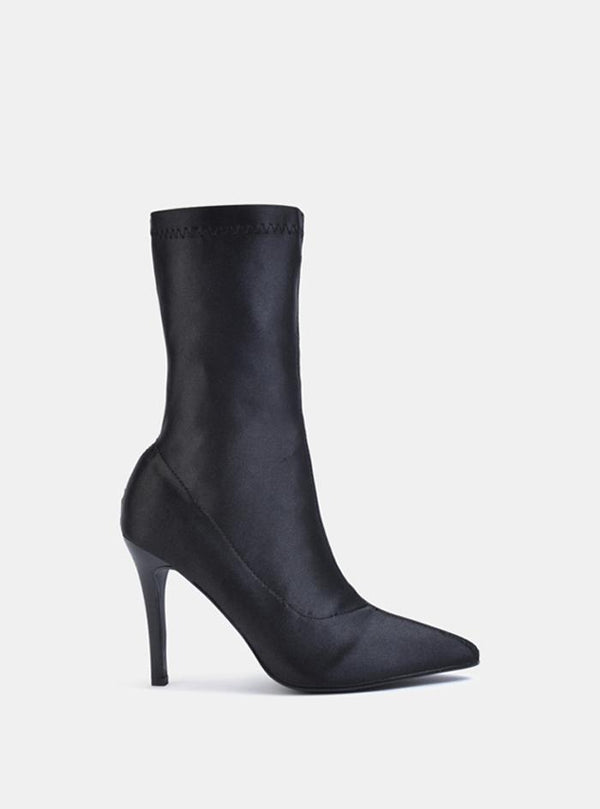 Storm Stiletto Heel Ankle Sock Boot Black Satin