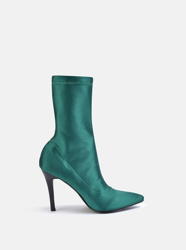 Storm Stiletto Heel Ankle Sock Boot Green Satin