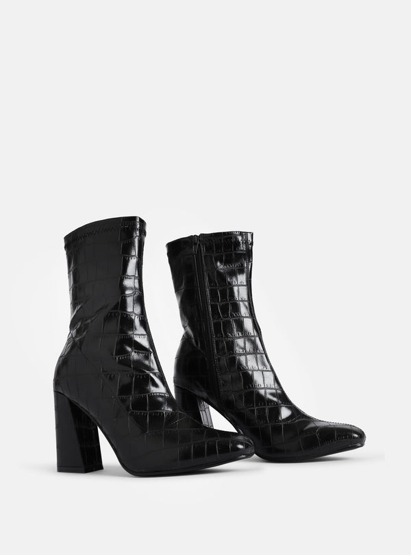 Tabitha Ankle Sock Boot Black Croc