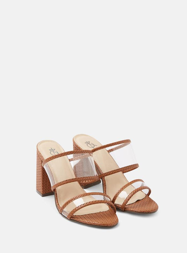 Talia Clear Strap Mule Sandals Tan Woven