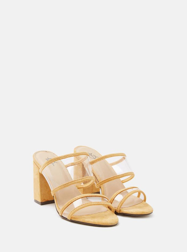 Talia Clear Strap Mule Sandals Yellow Suede