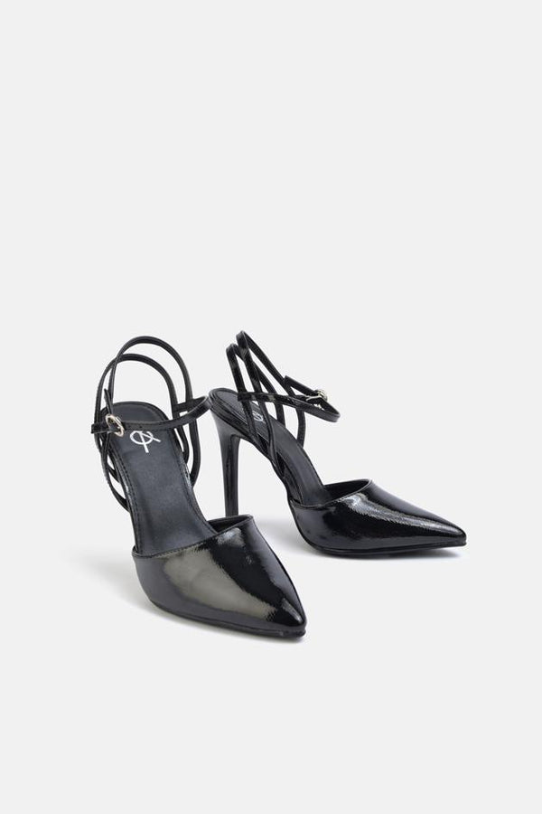 Tiger Double Strap Court Shoe Black