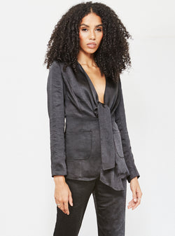Virgo Tie Front Satin Blazer Black