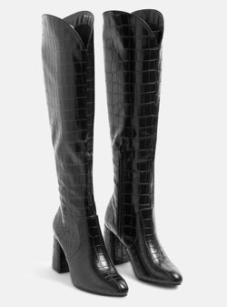 Walker Knee High Block Heel Boot Black Croc