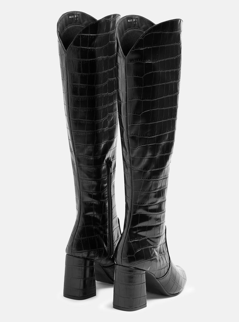 Walker Knee High Boot Black Croc