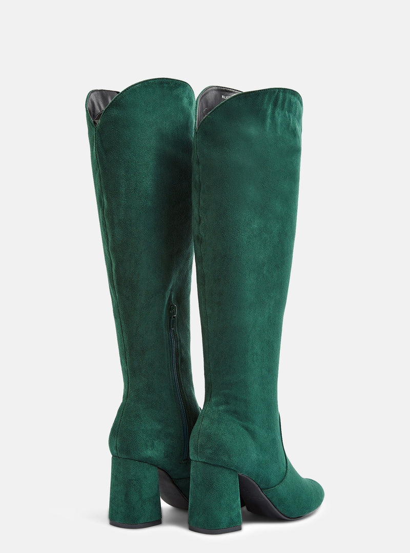 Walker Knee High Block Heel Boot Teal Suede
