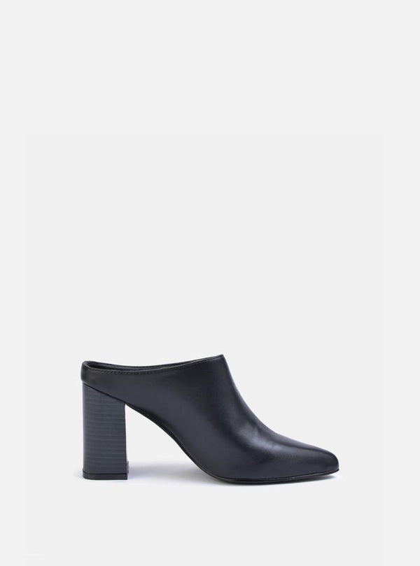Zendaya Pointed Block Heel Mules Black Pu