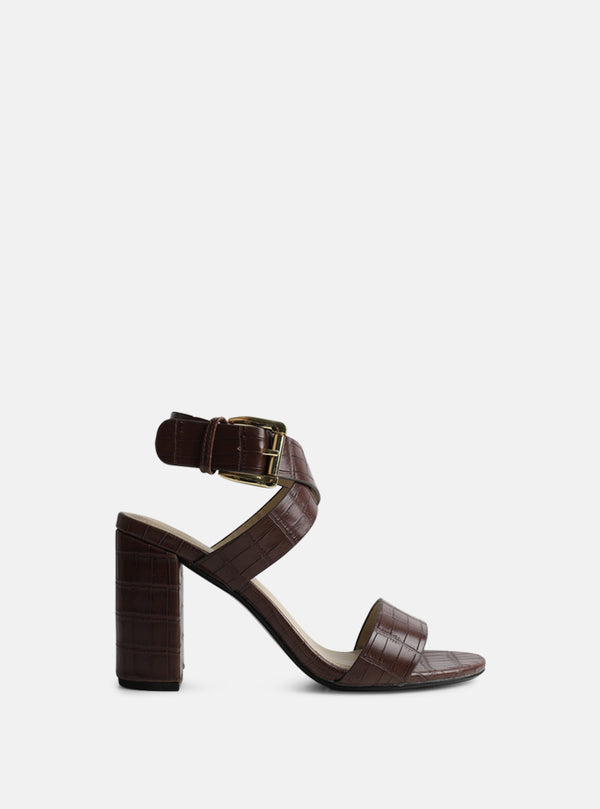Adrianna Strappy Block Heel Sandal Brown Croc