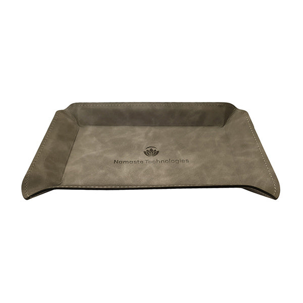 Synthetic Vegan Leather Tray Gray Medium