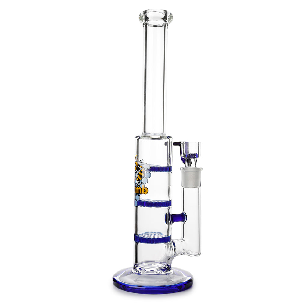 Glass Triple Disc Perc Bong Blue Honeycomb UK