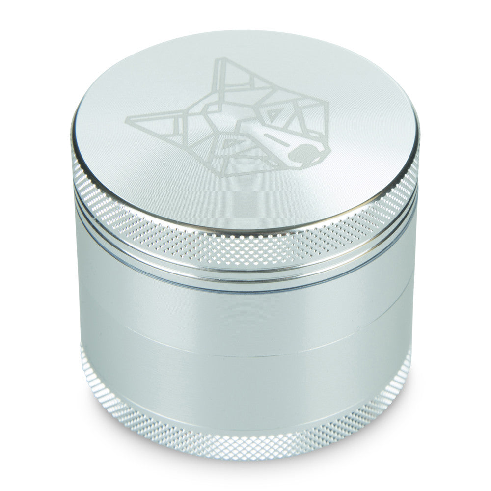 4 Part Piece The Wolf Pocket Aluminium Silver Medium Grinder