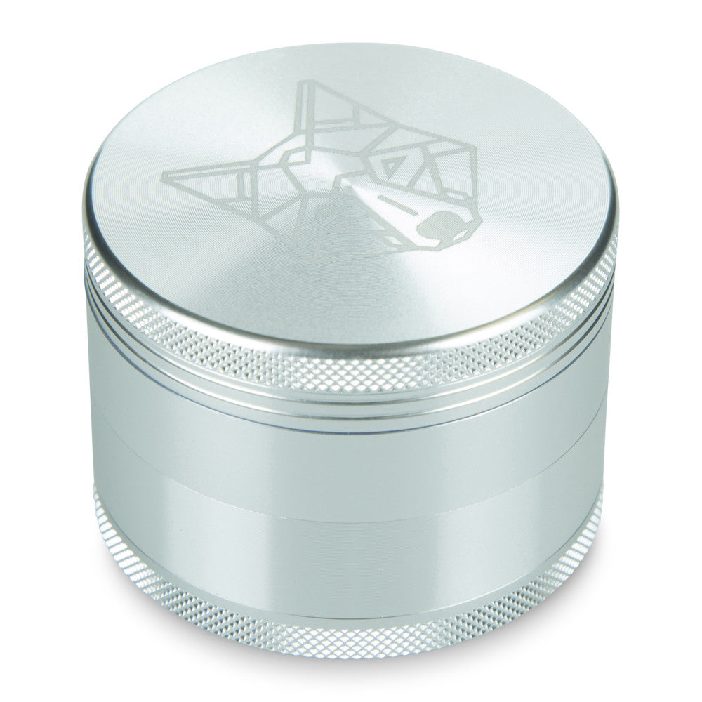 4 Part Piece The Wolf Pocket Aluminium Silver Large Grinder
