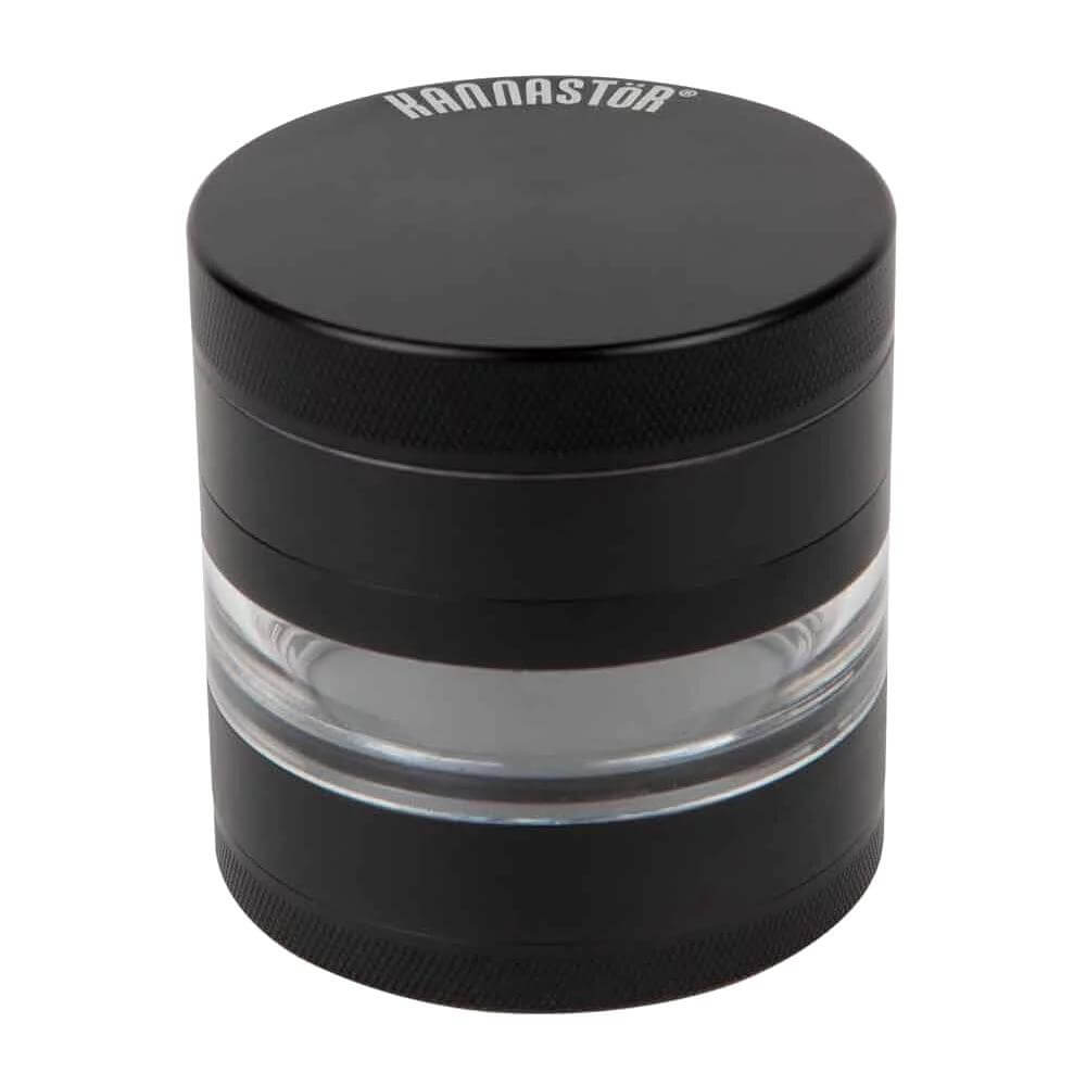 "Kannastor 4 Piece Multi Chamber Grinders 2.5"" Jar Body w/ Easy Change Screen - Black"