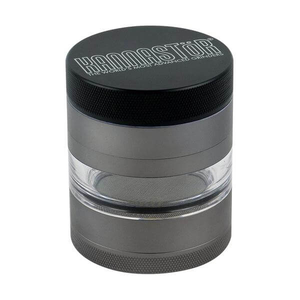 "Kannastor 4 Piece Multi Chamber Grinders 2.2"" Jar Body w/ Easy Change Screen - Gunmetal"