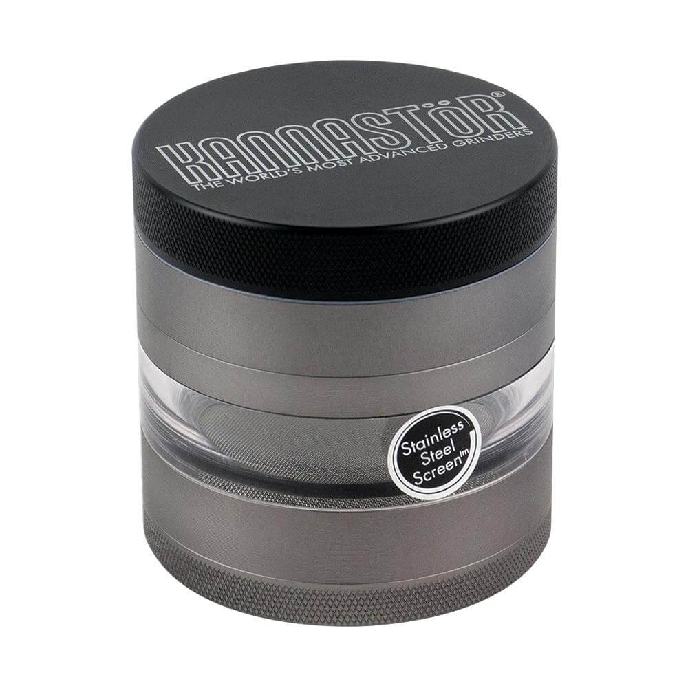 "Kannastor 4 Piece Multi Chamber Grinders 2.5"" Jar Body w/ Easy Change Screen - Gunmetal Front"
