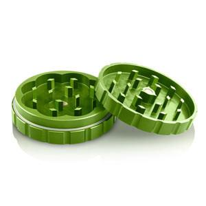 Medium Two Piece Herb Grinder Green open