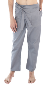 Pantalón cruzado recto [Wrapped straight leg pants] GRIS