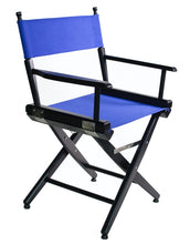 "Load image into Gallery viewer, FILMCRAFT PRO SERIES STUDIO DIRECTOR CHAIR 18"" DINING HEIGHT BLACK FINISH/BLACK CANVAS"