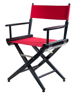 "FILMCRAFT PRO SERIES STUDIO DIRECTOR CHAIR 18"" DINING HEIGHT BLACK FINISH/BLACK CANVAS"