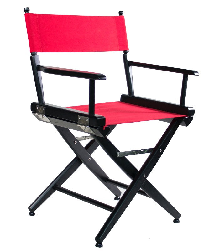 "SHORT DIRECTOR CHAIR 18"" DINING HEIGHT BLACK FINISH - Filmcraft Studio Gear"