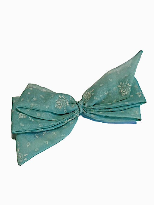 blue sheer teal roses floral patterned hair bow hairbow clip in vintage retro style