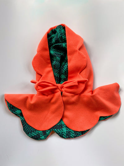 bright orange green patterned scalloped riding hood tied cosplay