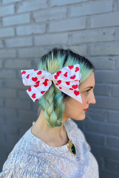 red white heart patterned hair bow hairbow vintage retro style clip in valentines day