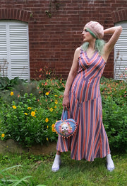Retro style purple and coral chevron striped 1930s inspired beach pajamas and cute bunny heart purse.