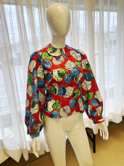 Red with Blue cherry print 1940s fabric balloon sleeve blouse with Peter Pan collar.