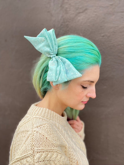 Sheer Flocked Mint Gift Hair Bow