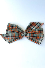 Plaid Seersucker Gift Bow Clip